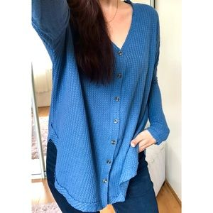 Tops - Lana Waffle Thermal Button Down LS | French Blue
